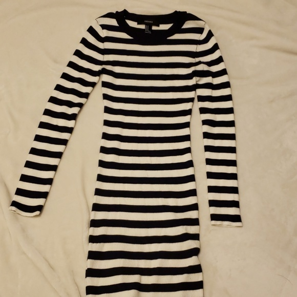 Forever 21 Dresses & Skirts - Navy and White Striped Bodycon Sweater Dress
